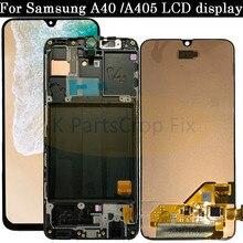 Super AMOLED Per Samsung A40 LCD A405 LCD A40 Display a cristalli liquidi Per Samsung A40 A405 LCD touch Screen Digitizer Assembly di ricambio