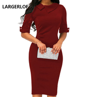 LARGERLOF Office Dress Women Dresses Summer 2019 Simple Half Sleeve Dress Elegant Long Prom DS45003