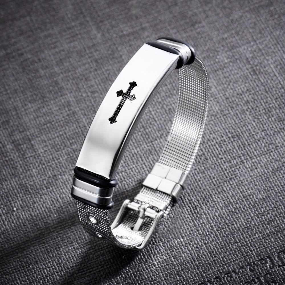 Fashion Men Bracelet Religious Jewelry Hollow Out Cross Bracelets For Man Trendy Male Adjustable Silver Color Bracelet Bangles