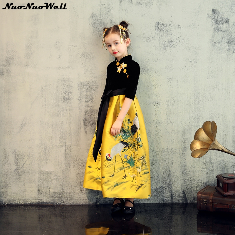 2018 Girls Wedding Dresses in Spring Kids Girl's Chinese Style Dress Baby Girl Formal Clothes Princess Party Dress 3-12 Years цена и фото