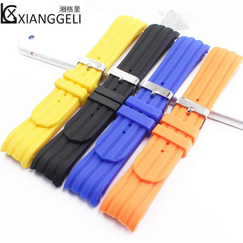 Watch Accessories 24mm Silicone Strap Curved Interface Pin buckle Fit Men & Women Casual Fashion Sports Business Watch Band