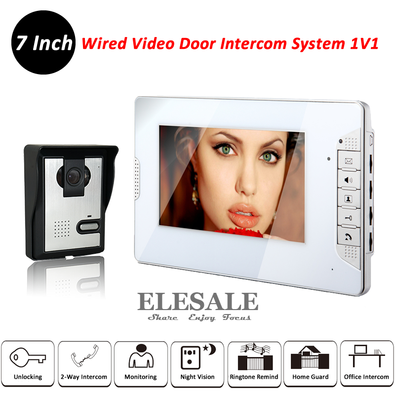 7Inch Video Door Phone Intercom System 700TVL Camera Unit Color LCD Monitor Night Vision Home Security Kit tmezon 4 inch tft color monitor 1200tvl camera video door phone intercom security speaker system waterproof ir night vision 1v1