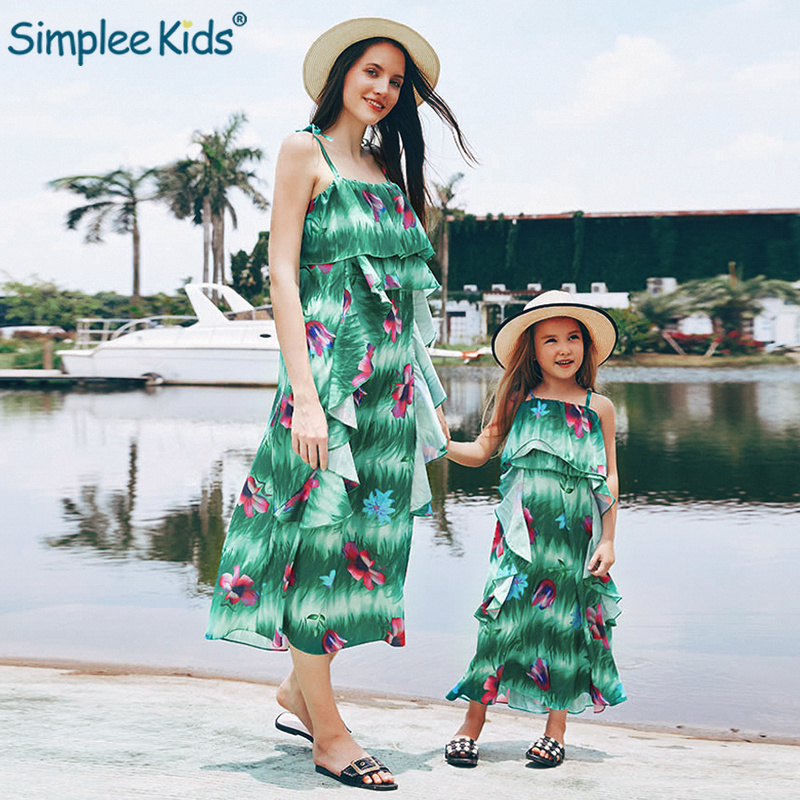 f1f514aba1 Family Matching Outfits Floral Dress Mother Daughter Dresses Ladies Dresses  Kids Clothes Mom Daughter Clothes Family