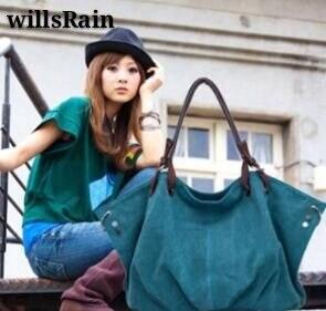 Women s Canvas Handbags black High Quality Female Hobos Single Shoulder Bags Vintage Solid Multi pocket