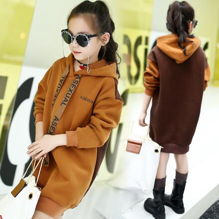 New Style hooded hoodies autumn winter girls dress warm long sleeve casual dress children sweatshirt clothes letter print long sleeve sweatshirt dress page 5