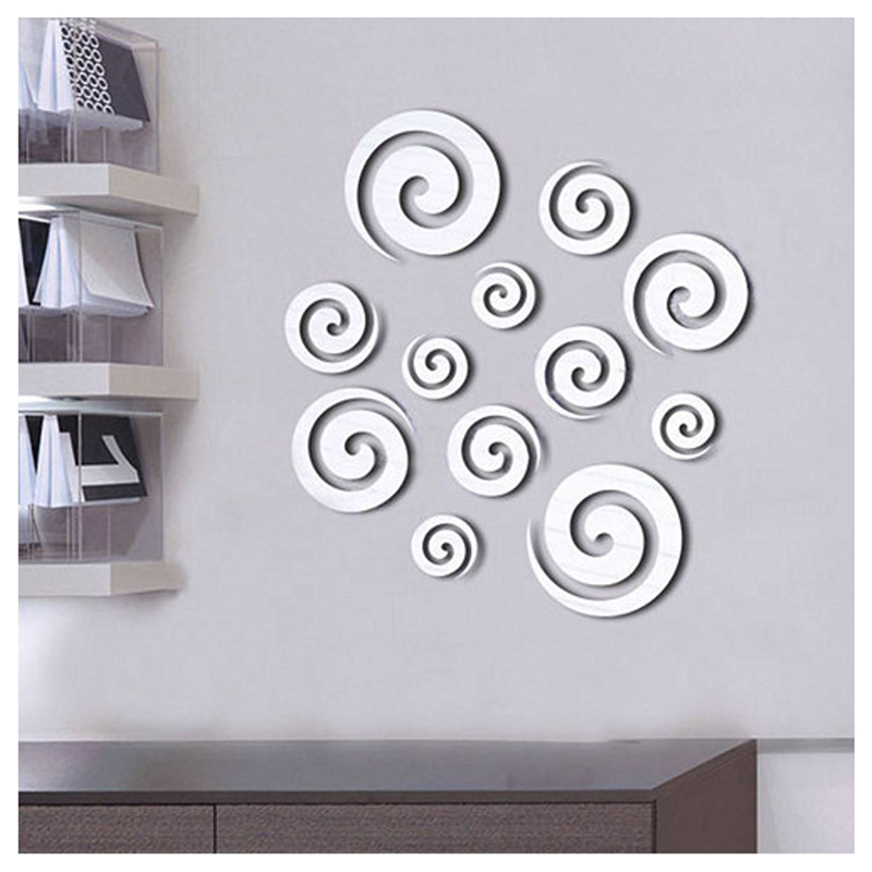 HOT GCZW-Shining Tone Mirror 3D Spiral Round Circle Wall Sticker Decal Home Office Decor