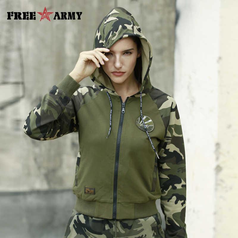 178b1fbd73236 FreeArmy Zip-Up Hooded Hoodies Womens Sweatshirts Spliced Autumn Top  Military Safari Style Female Streetwear