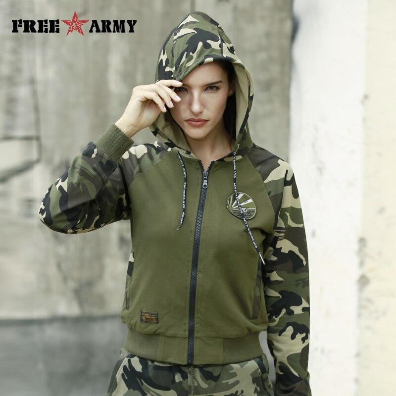 FreeArmy Zip-Up Hooded Hoodies Womens Sweatshirts Spliced Autumn Top Military Safari Style Female Streetwear Sweatshirt Hoodie Рубашка