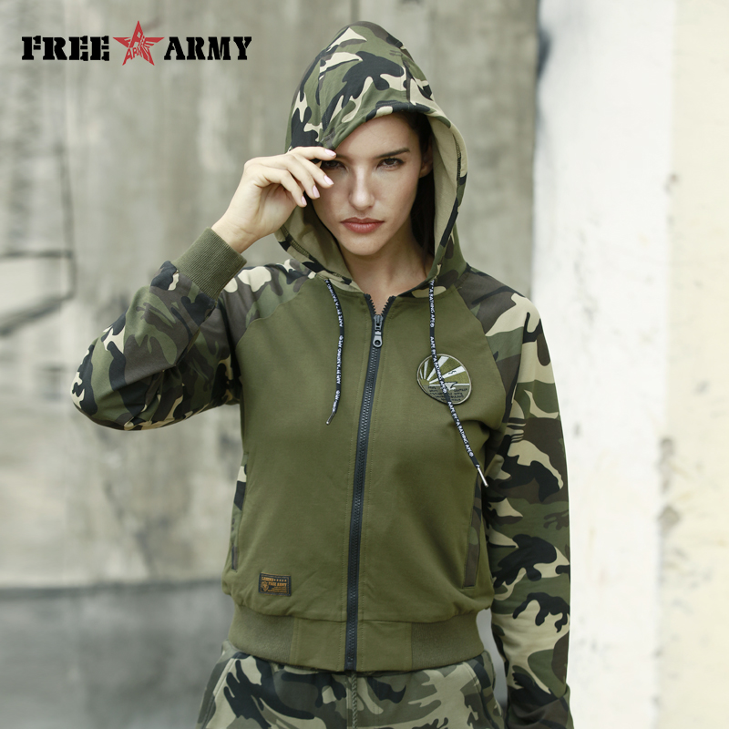 FreeArmy Zip-Up Hooded Hoodies Womens Sweatshirts Spliced Autumn Top Military Safari Style Female Streetwear Sweatshirt Hoodie