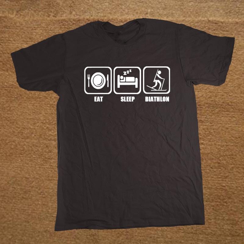 Новые забавные шутка Ешьте Сна биатлон футболка Для мужчин смешные футболки человек Костюмы короткий рукав Camisetas футболка