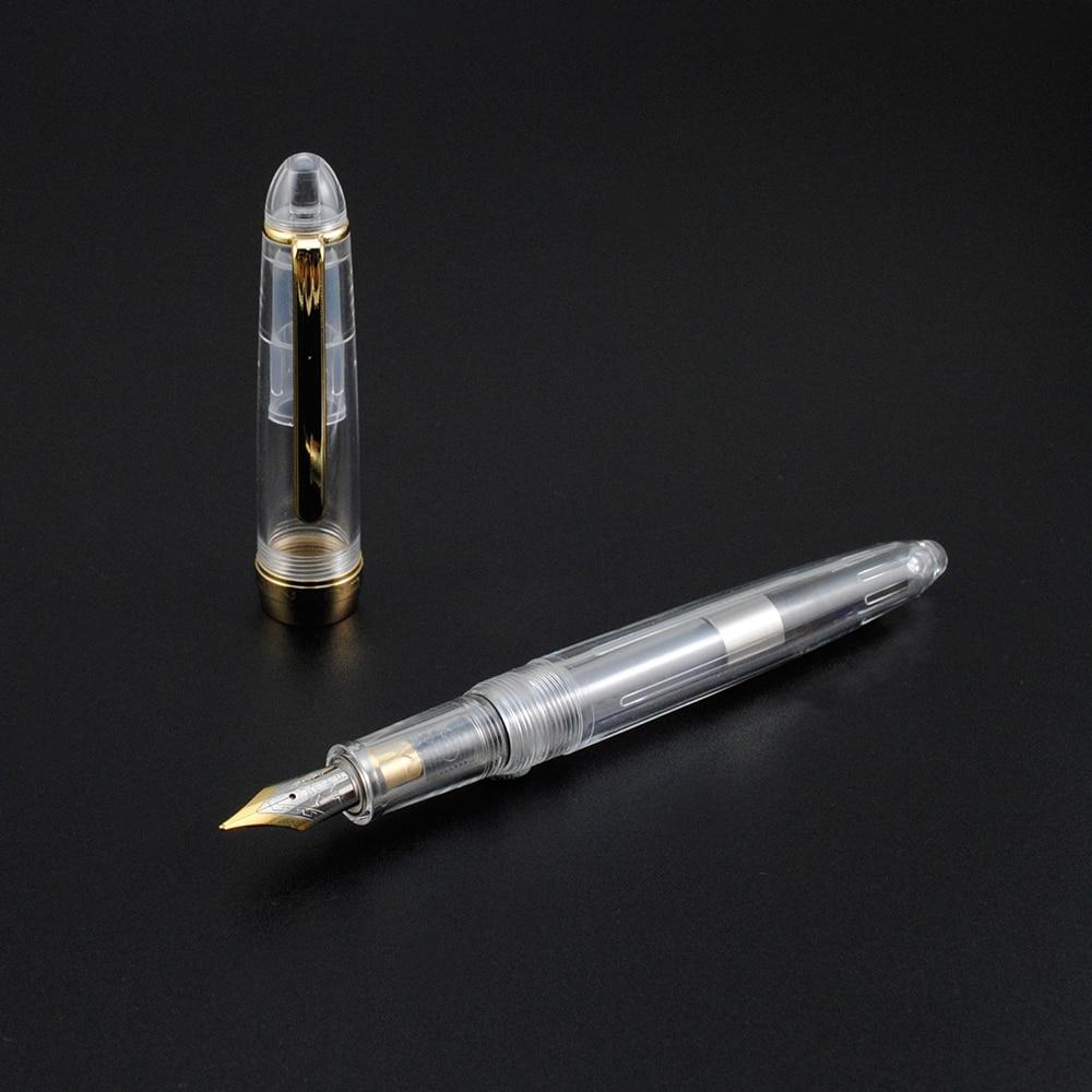 Golden Clip Transparent Fountain Pen 0.5mm Student ...
