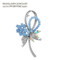 Neoglory Austria Crystal & Rhinestone Brooch Alloy Plated Exquisite Flower Design Romantic Lady Style For Party Sale Gift