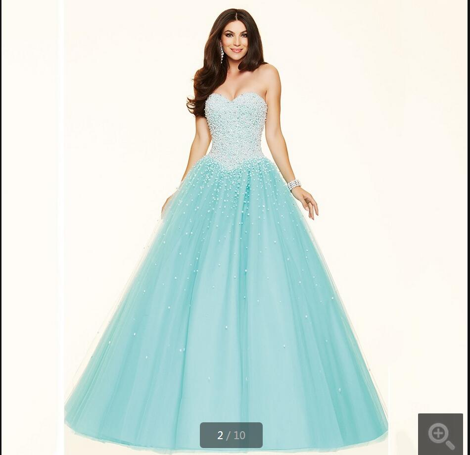 Plus Size Luxury Ball Gown prom dress Sweetheart Fully Pearls ...