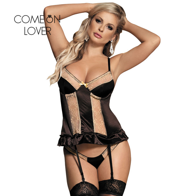 Comeonlover Velvet <font><b>Babydoll</b></font> <font><b>Lencer</b></font> <font><b>A</b></font> <font><b>Sexy</b></font> 2 Pieces Strappy Nuisette <font><b>Sexy</b></font> V Neck Soft Erotic Lingerie Big Size Baby Doll RE80351 image