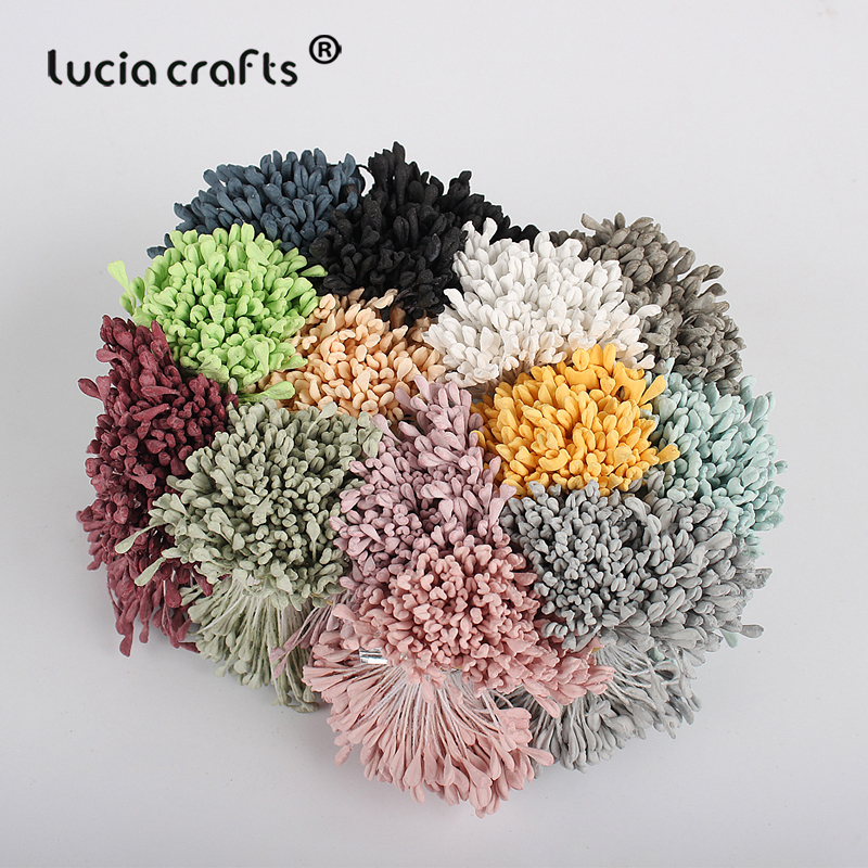 Lucia crafts 330pcs 3mm high quality Matte  double heads flower stamen pistil cake decoration craft DIY C1202-in Artificial & Dried Flowers from Home & Garden