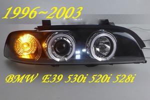 Image 1 - 2 pcs przedni reflektor samochodowy dla E39 reflektorów 1996 ~ 2003 rok, 520 528 530 XENON HID reflektorów H7 Xenon obiektyw dwukrotnie U kąt oczy
