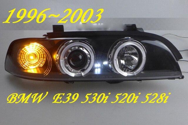 2 pcs przedni reflektor samochodowy dla E39 reflektorów 1996 ~ 2003 rok, 520 528 530 XENON HID reflektorów H7 Xenon obiektyw dwukrotnie U kąt oczy