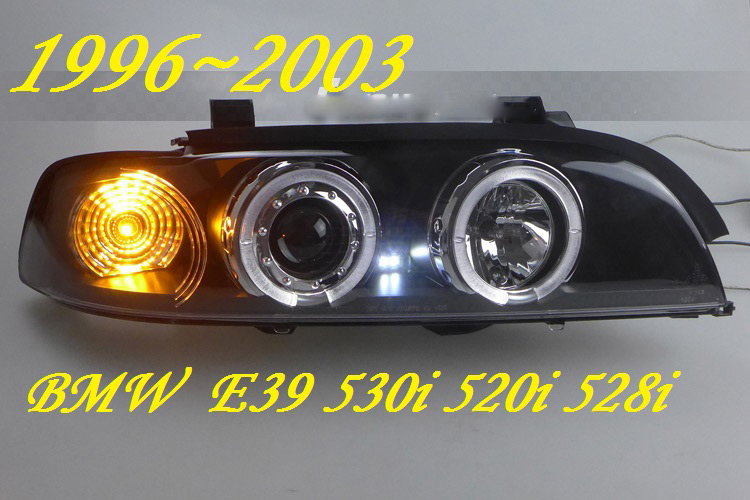 2pcs Car Head Lamp For E39 Headlight  1996~2003year,520 528 530 HID XENON Headlight H7 Xenon Lens Double U Angle Eyes