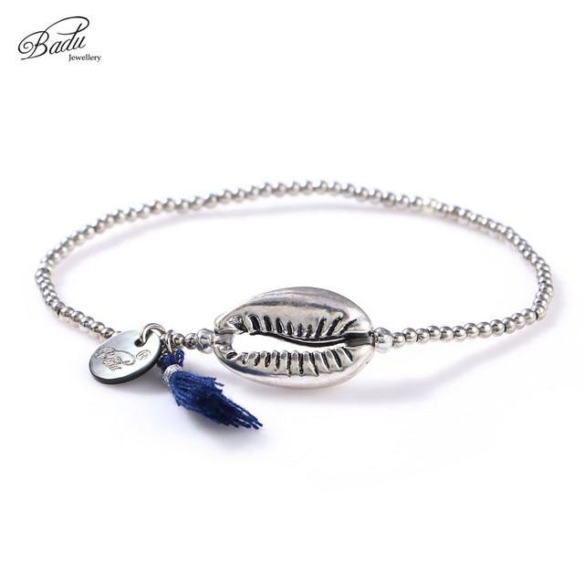 Badu Silver Shell Bracelet for Women Alloy Beads Elastic String Cotton Tassel Pe