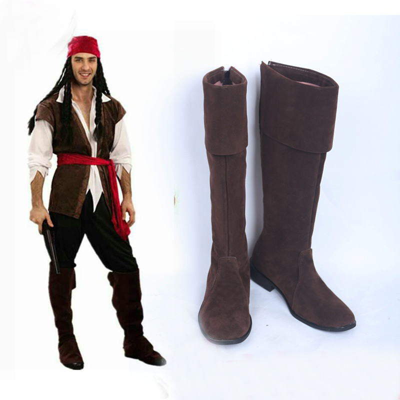 Pirate Cosplay Pirates of the Caribbean Captain Jack Sparrow Cosplay Shoes Boots Halloween Carnival Party Costume