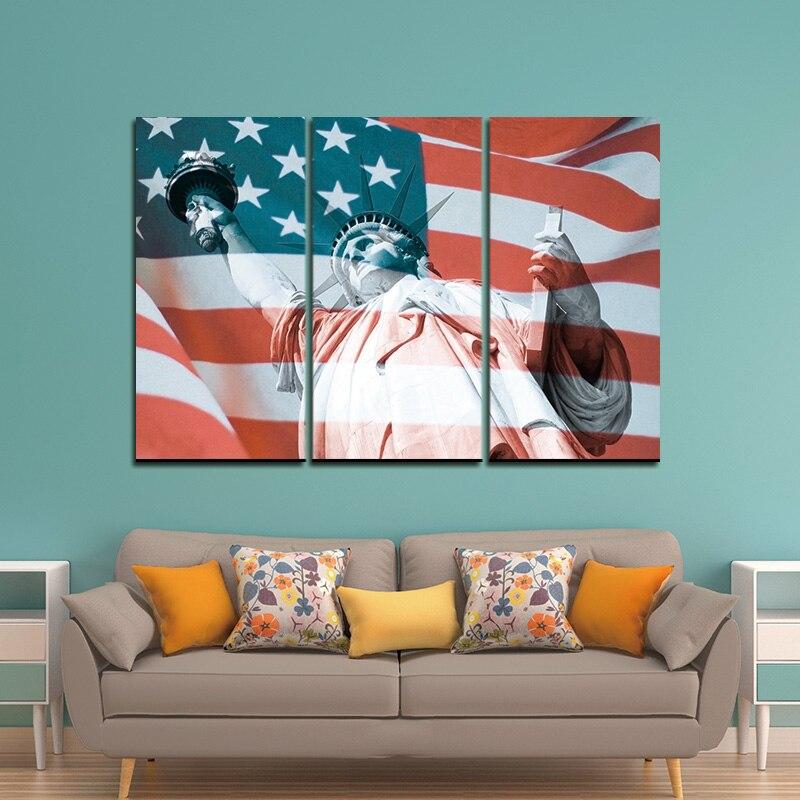 3 패널 미국 미국 미국 국기 캔버스 벽 예술 인쇄 캔버스 그림 홈 장식 사진 모듈 액자