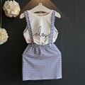 2016 Summer New arrival girl dress set white T-shirt+blue striped skirt suit 2 pcs set