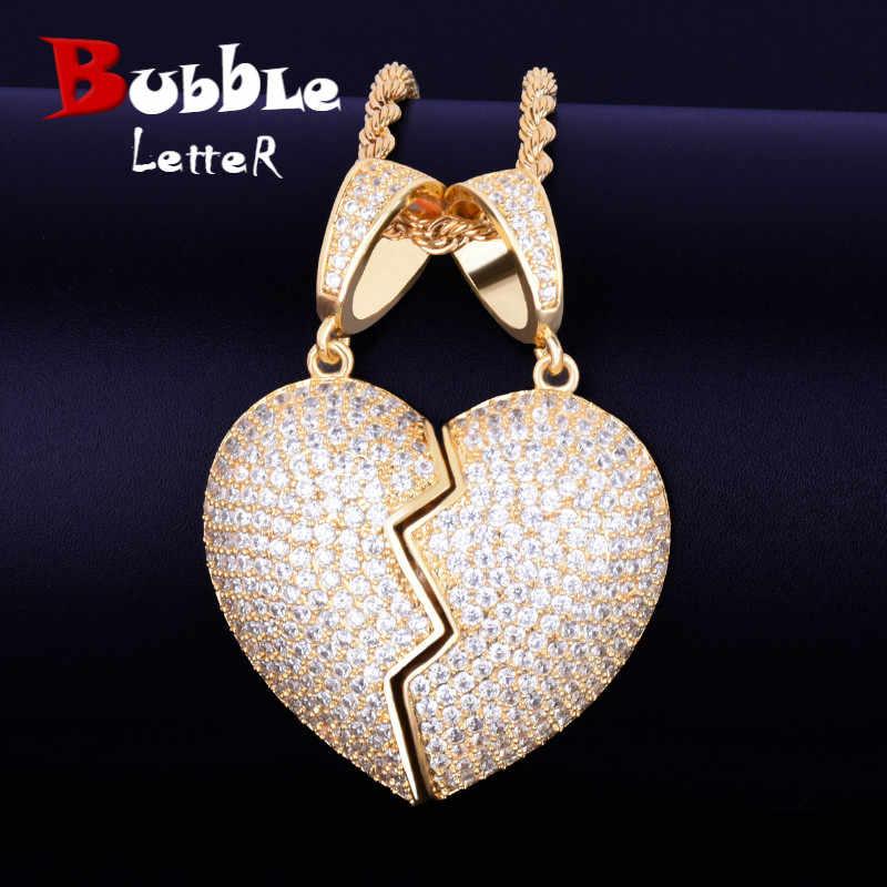 Para serce wisiorek naszyjnik łańcuch tenisowy złoty srebrny AAA cyrkonia męska Hip hop Rock biżuteria 5x3.5 cm