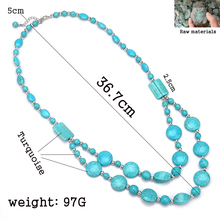 Hot Natural stone Beads Choker Vintage Necklaces Pendants Statement Necklaces & Pendants Long Necklace Women Jewelry Collares