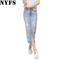 2017 Spring Summer Autumn Fashion Women Long Denim Skirt Casual Plus Size Maxi Skirts Vintage Jeans