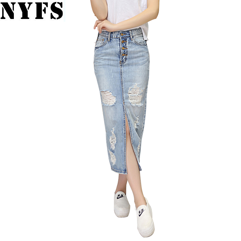 2018 Spring Summer Autumn fashion women long denim skirt casual plus size maxi skirts vintage jeans Hem Split pencil skirts