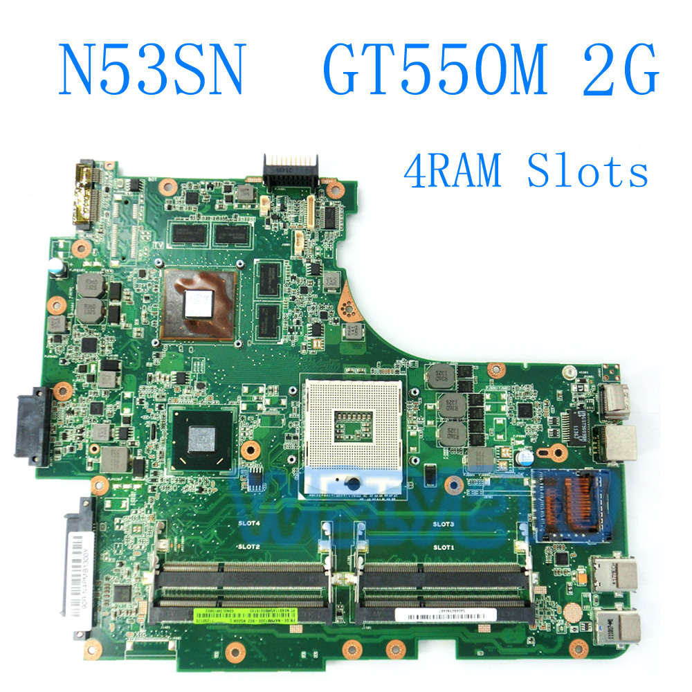 N53SN avec GT550M 2 gb Carte Mère 4RAM Slots Pour ASUS N53S N53SV N53SN N53SM Ordinateur Portable Carte Mère Rev 2.2 100% Testé