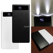 Portable Slim Dual Usb Led Licht 8X18650 Batterij Diy Power Bank Box Holder Case Voor Mobiele Telefoon Rental & Dropship