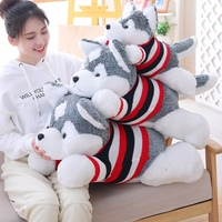 60/80 cm Stuffed Animal Dog Plush Toy Plump Body Dog Stuffed Husky Dog Pillow Toy Doll For Kids Birthday Gift