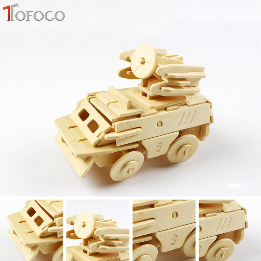 TOFOCO New Wooden 3D Puzzle Tank Car Gun War Arms Model Toy For Boy Kids Educational Toy Jigsaw Board Toys Learning Figures