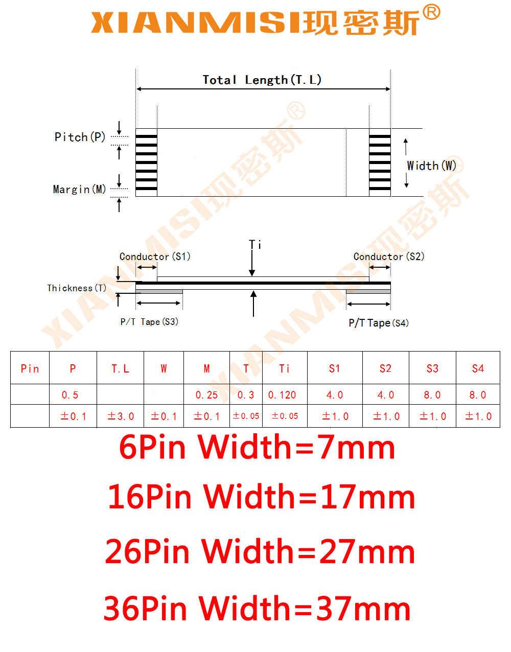 FFC/FPC Platte Flex Lint Kabel 6Pin 16Pin 26Pin 36Pin Dezelfde Kant 1.0mm Pitch AWM VW-1 20624 20798 80C 60 V Lengte 20 cm 5 STKS