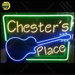 Neon znak dla miejsce gitar żarówka znak Neon znak Beer Bar Pub wyświetlacz restauracji rzemieślnicze szklana rurka światła dekoracje ścienne u nas państwo lampy na sprzedaż