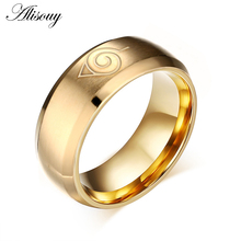 Alisouy 1 PCS Party Ring Size 6 13 Stainless Steel Japanese Animation Symbol Men Womens