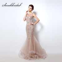 2018 Luxury Crystal Mermaid Evening Dresses with Beading Illusion Tulle Sleeveless Long Elegant Women Evening Party Gowns OL006