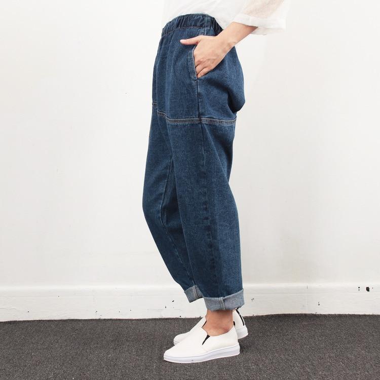 Plus Size Jeans Women New Design Elstic Waist Cowboy Nine Cent Denim Pants Girls Student Boyfriend Loose Jeans for Mom 4 Seasons