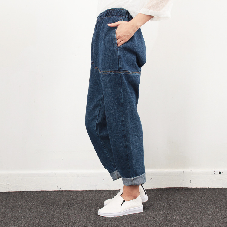 Plus Size   Jeans   Women New Design Elstic Waist Cowboy Nine Cent Denim Pants Girls Student Boyfriend Loose   Jeans   for Mom 4 Seasons