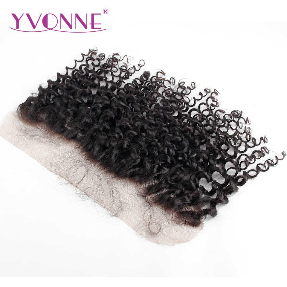Yonne malayo Pelo Rizado de la Virgen del cordón Frontal 13x4 Color Natural 100% productos para el cabello humano