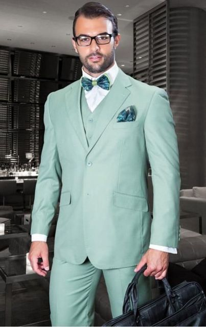 Latest Coat Pant Designs Mint Green Italian Suits Men Skinny Formal ...