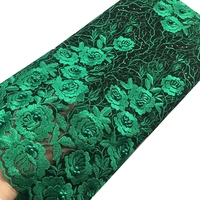 Latest African Lace Fabric 2017 Teal Blue Beaded Laser Cut Lace Fabric High Quality For Sewing