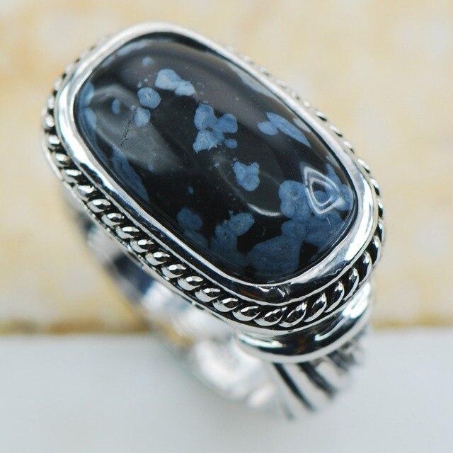 Обсидианом 925 пробы серебро Одежда высшего качества необычные украшения  Обручальное кольцо Размеры 6 7 8 9 1a5c008ef77