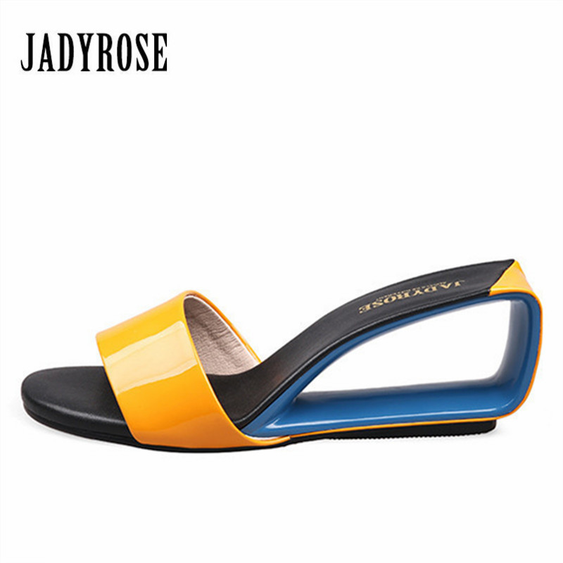 Jady Rose 2018 Designer Gladiator Sandals Fashion Wedge Shoes Women's Sandals High Heel Slippers Valentine Shoe Summer Slides цена