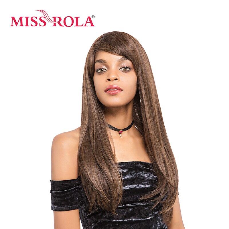 Мисс Рола длинные прямые синтетические парики 18 дюймов Kanekalon Теплоизоляционный слой ...