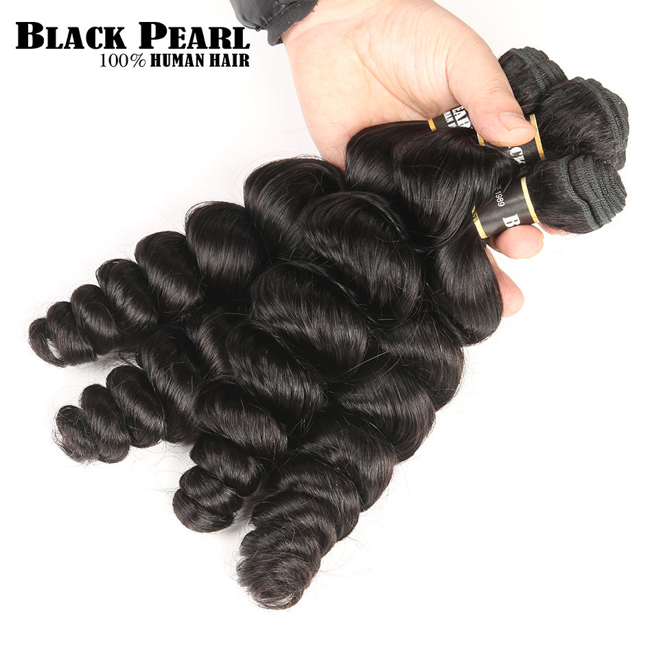 Zwarte parel Pre-gekleurde niet-remy bundels van menselijke haar met - Mensenhaar (voor zwart) - Foto 4