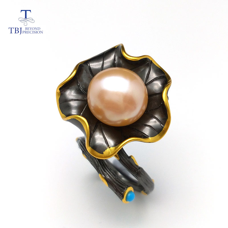 TBJ,Stylish Baroque natural pearl Ring and turquoise in 925 silver black & yellow gold color special lotus leaf design for lady цена 2017