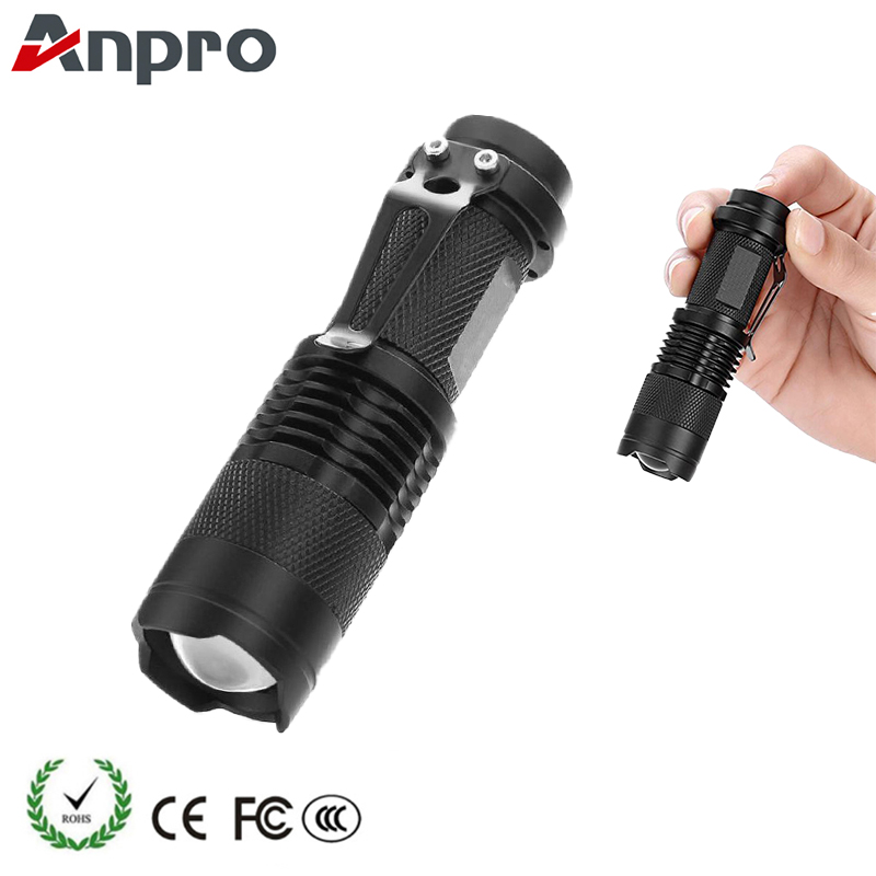 Anpro Mini Flashlight Q5 Adjustable 3000 Lumens Led Torch Lantern 3 Mode use AA 14500 Zoom Focus Portable Waterproof for Outdoor