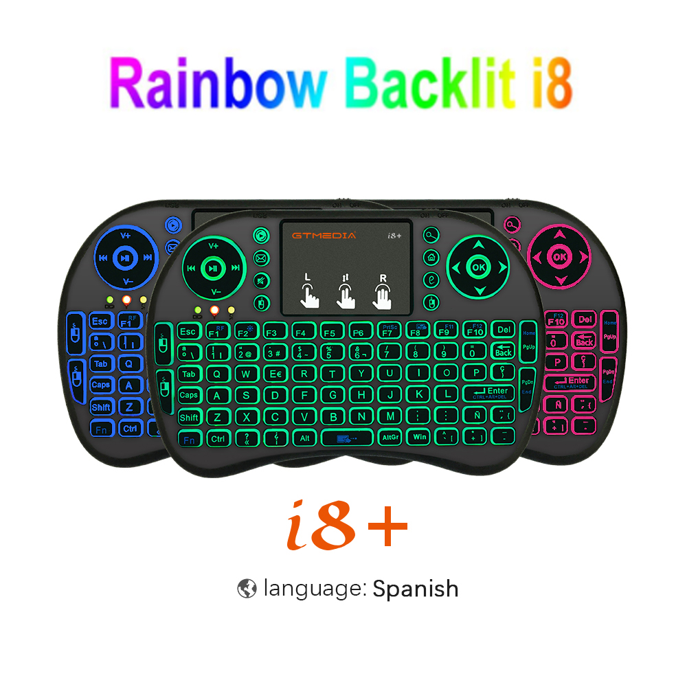 7 color backlit <font><b>i8</b></font> Mini Wireless <font><b>Keyboard</b></font> 2.4ghz English Spanish 3 colour Air Mouse with Touchpad Remote Control Android TV Box image
